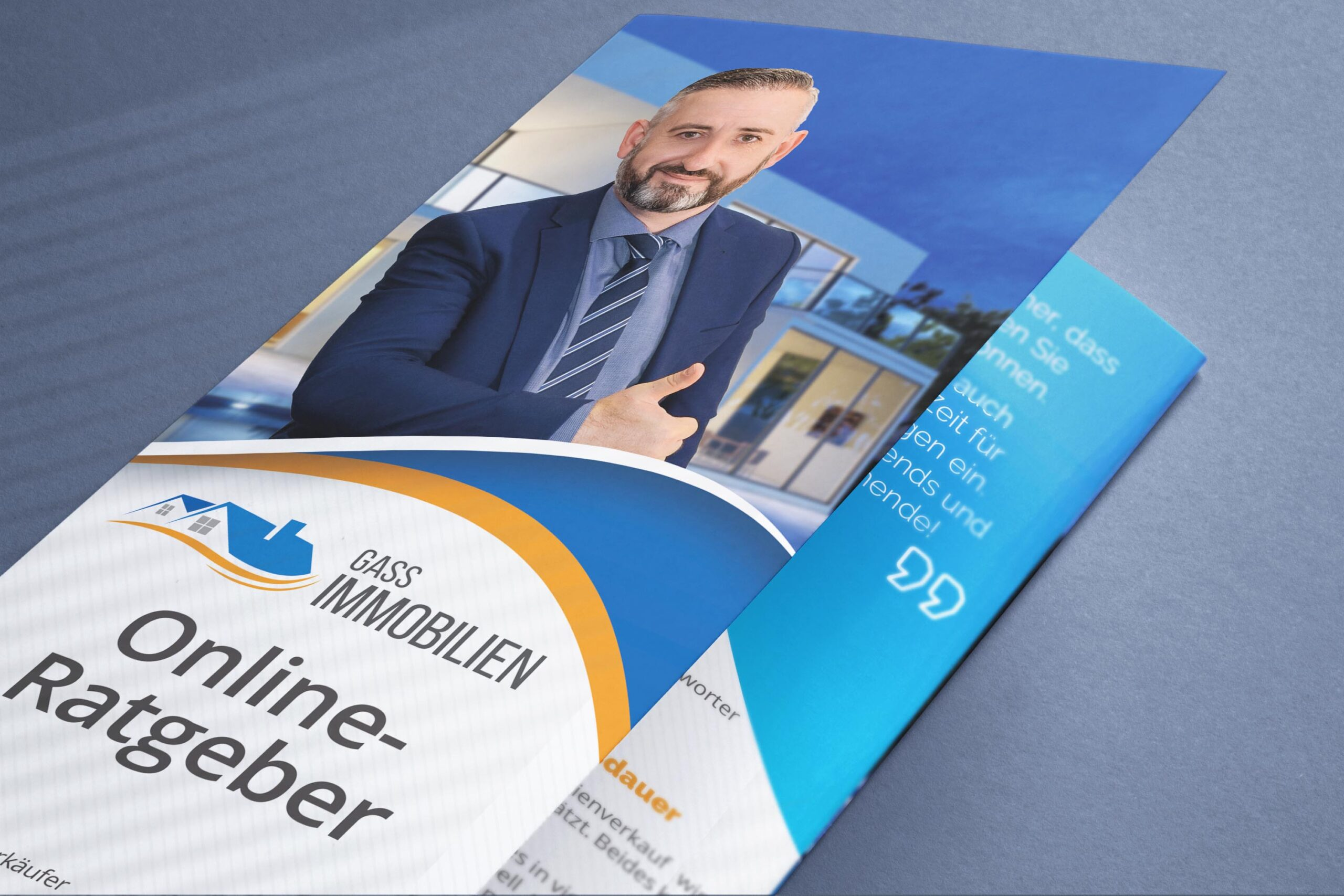 Closed tri-fold flyer brochure mock-up close-up view
